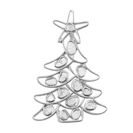 Artisan Crafted Polki Diamond Christmas Tree Pendant in Platinum Overlay Sterling Silver - 1.43 Ct.