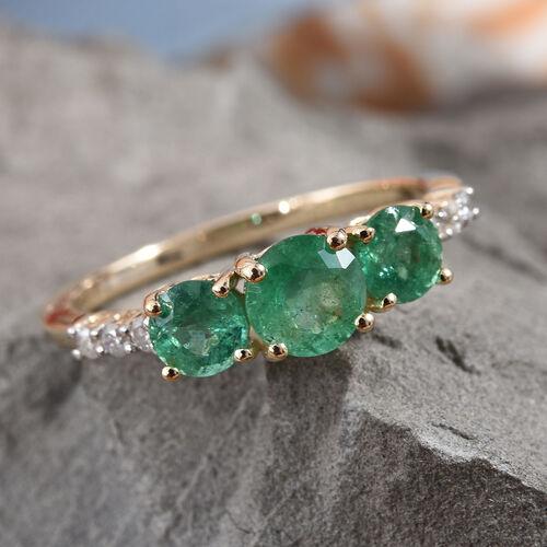 9K Yellow Gold AA Kagem Zambian Emerald (Rnd), Diamond Ring 1.100 Ct.