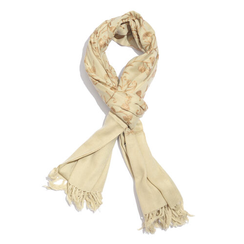 100% Merino Wool Champagne, Beige and Golden Colour Paisley and Leaves Embroidered Scarf with Tassel