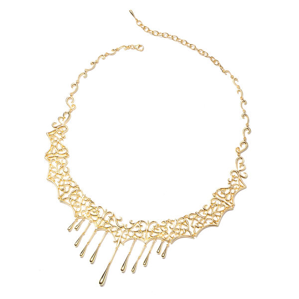 LucyQ Lace Drip Necklace in Gold Plated Silver 68 Grams 14.5 with 4 inch Extender