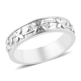 Platinum Overlay Sterling Silver Engraved Band Ring