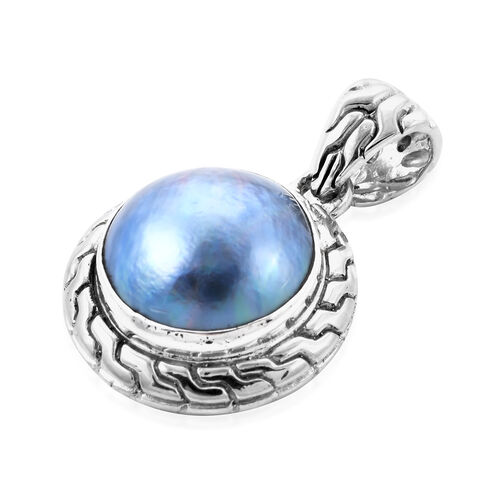 Royal Bali Collection - Blue Mabe Pearl Pendant in Sterling Silver, Silver wt 5.99 Gms