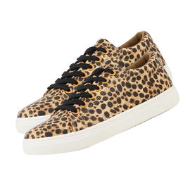 Leopard Pattern Lace-Up Trainers in Brown