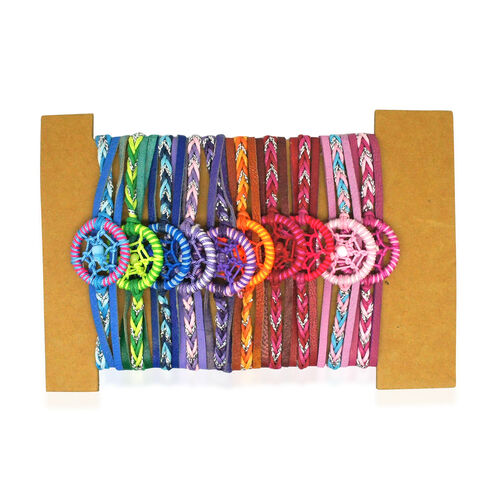Set of 10 - Navy, Green, Purple and Multi Colour Adjustable Bracelet (Size 6.5 to 10)