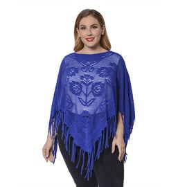 Spring Collection - Rose Pattern Hollow Out Poncho with Fringe Hem in Blue (Free Size; Length 50Cm)