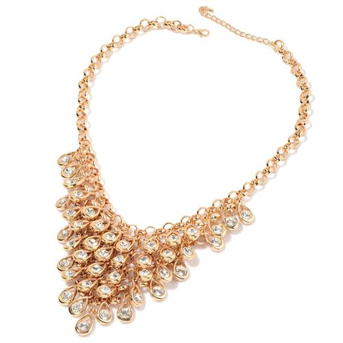 White Austrian Crystal Necklace (Size 18) in Gold Tone