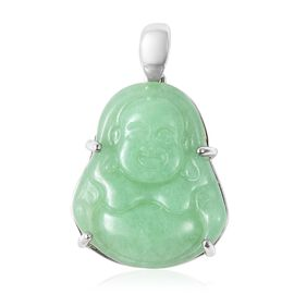 9.75 Ct Carved Green Jade Laughing Buddha Pendant in Rhodium Plated Sterling Silver