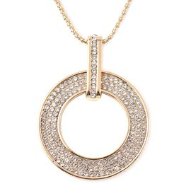 White Austrian Crystal Circular Pendant with Chain (Size 28 with 2.5 inch Extender) in Gold Tone