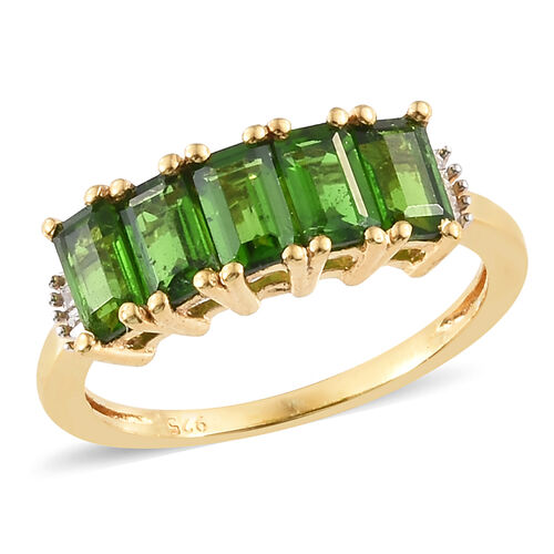 Extremely Rare Cut Russian Diopside (Oct) and Diamond 5 Stone Ring 14K Gold Overlay Sterling Silver 1.750  Ct.