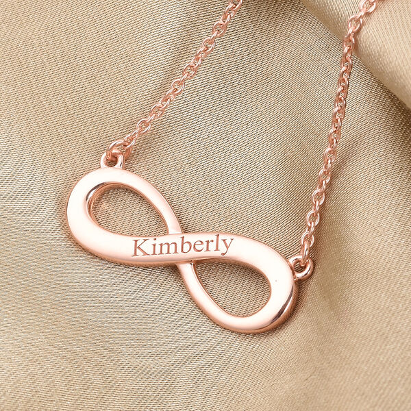 Personalised Engraved Infinity Necklace in Silver