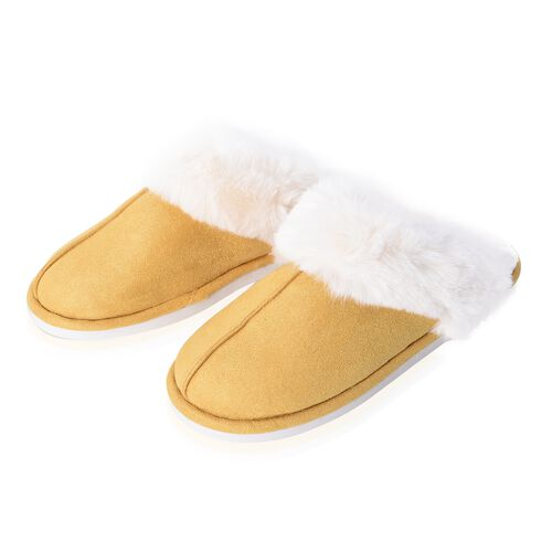 Super Soft Suede Home Slippers with Faux Fur (Size L)
