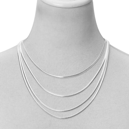 Set of 2 Stainless Steel Snake Chain Necklace (Size 19) and Bracelet (Size 8)