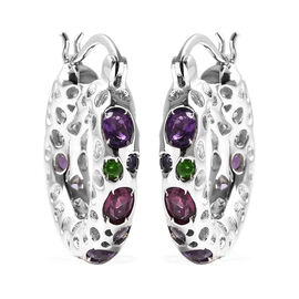 RACHEL GALLEY Amethyst, Rhodolite Garnet and Multi Gemstone Earrings (with Clasp) in Rhodium Overlay