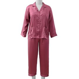 100% Mulberry Silk Pyjama Long Sleeves with Embroidery in Purple Colour