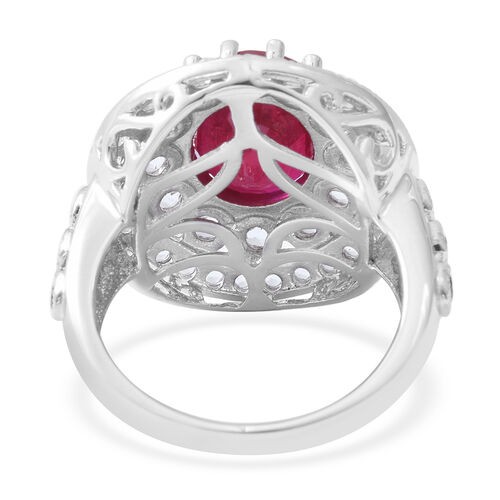 Limited Edition- African Ruby (Ovl 12x10mm, 7.30 Ct), White Topaz Ring in Rhodium Overlay Sterling Silver 9.600 Ct, Silver wt 8.15 Gms.