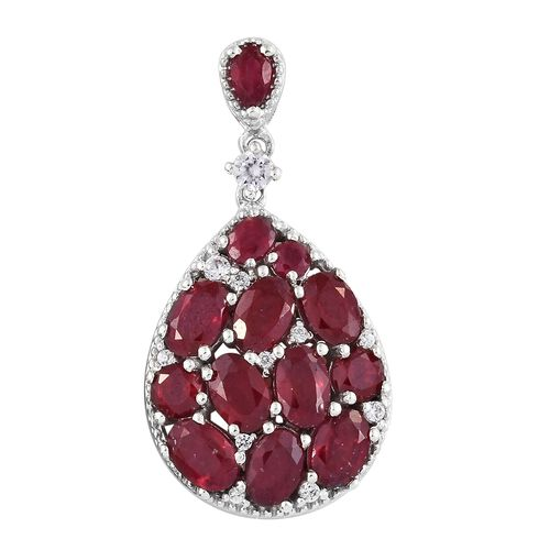 African Ruby and Natural Cambodian Zircon Drop Pendant in Platinum Overlay Sterling Silver 8.000 Ct.
