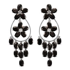 18.25 Ct Elite Shungite and Zircon Floral Chandelier Earrings in Platinum Plated Silver 14.80 Grams