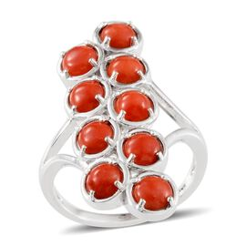 Mediterranean Coral (3.50 Ct) Platinum Overlay Sterling Silver Ring  3.500  Ct.