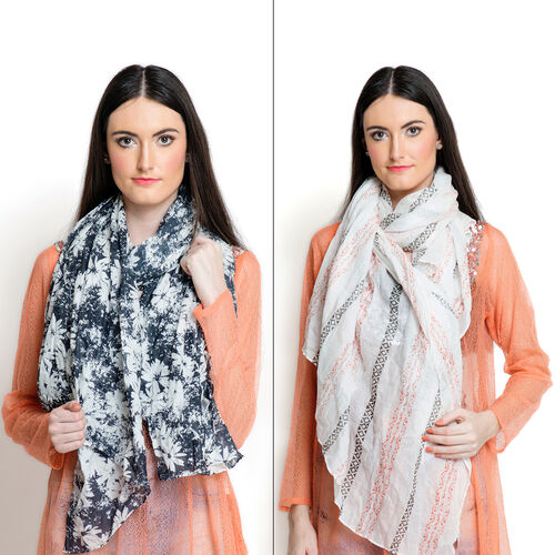 Set of 2 -  100% Superfine, Premium Grade Cotton Orange and Multi Colour Printed White Colour Floral Pattern Black Colour Pareo (Size 180x100 Cm)