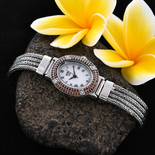 Royal Bali Collection - EON 1962 Swiss Movement Mozambique Garnet Studded Water Resistant Tulang Naga Bracelet Watch (Size 8) in Sterling Silver 1.23 Ct, Silver wt 37.09 Gms