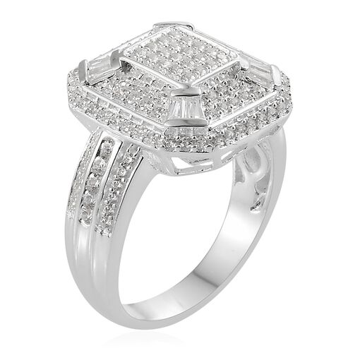 c19093429 J Francis - Sterling Silver (Rnd and Bgt) Cluster Ring Made with SWAROVSKI  ZIRCONIA