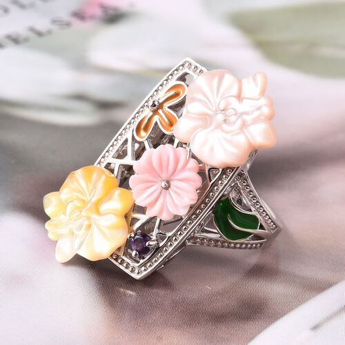 Jardin Collection - Pink Mother of Pearl, Amethyst and Multi Gemstone Enamelled Floral Ring in Rhodium Overlay Sterling Silver, Silver wt 6.26 Gms