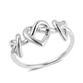 LucyQ Entwined Heart Ring in Rhodium Overlay Sterling Silver