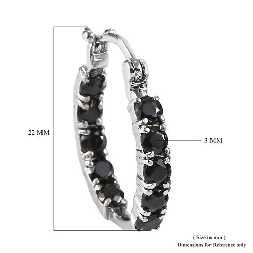 Boi Ploi Black Spinel Hoop Earrings in Stainless Steel 1.75 Ct.