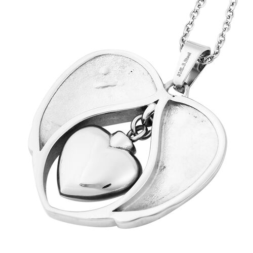 White Austrian Crystal Daughter Angel Wing Heart Memorial Urn Pendant with Chain (Size 20) in Stainless Steel