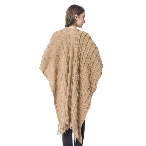 Khaki Colour Stripes Pattern Knitted Kimono with Tassels (Size 90X75 Cm)