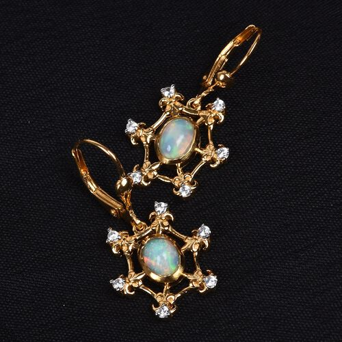 Ethiopian Welo Opal and Natural Cambodian Zircon Lever Back Earrings in 14K Gold Overlay Sterling Silver 1.25 Ct.