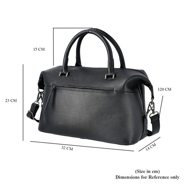 Super Soft100% Genuine Leather Solid Black Satchel Bag with Adjustable Shoulder Strap and Zipper Closure (32x14x23cm)