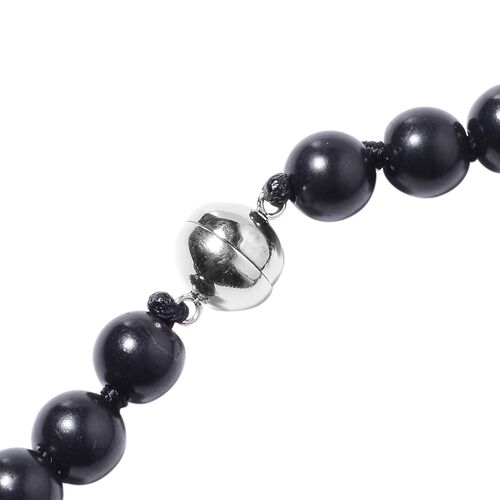 Shungite (Rnd 9-11 mm) Beads Necklace (Size 20) with Magnetic Lock in Rhodium Overlay Sterling Silver 280.00 Ct.