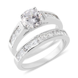 ELANZA Simulated Diamond (Rnd) 2 Ring Set in Rhodium Overlay Sterling Silver