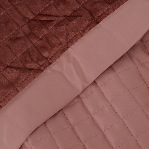 Micro Mink Reverse Matte Satin Quilt with Small Checker Quilting Pattern 240x260cm in Dusty Pink Colour