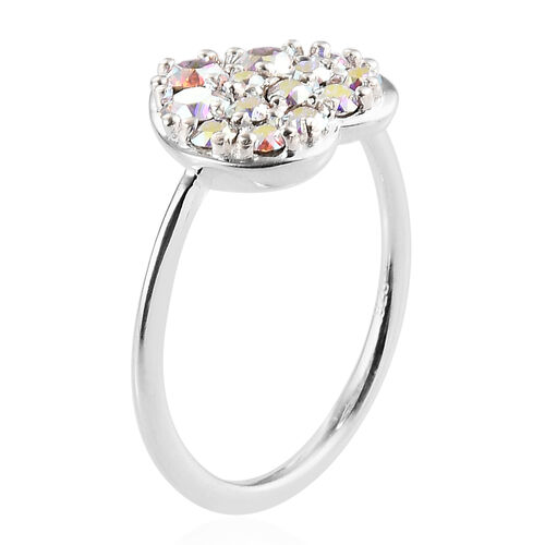 J Francis Crystal from Swarovski AB Crystal Cluster Heart Ring in Sterling Silver