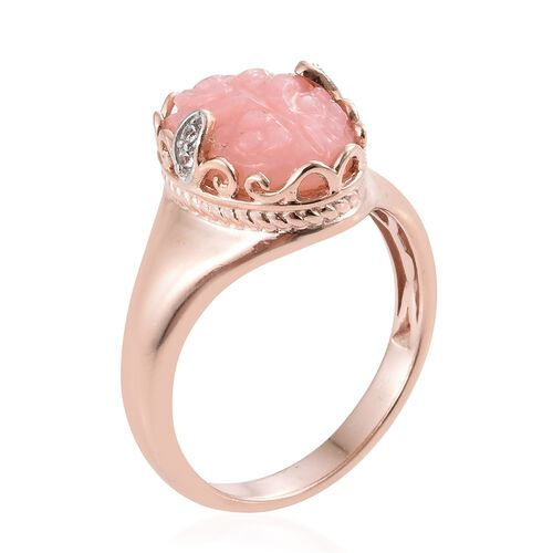 Hand Carved Peruvian Pink Opal (Ovl 4.45 Ct), Natural Cambodian Zircon Ring in Rose Gold Overlay Sterling Silver 4.500 Ct.