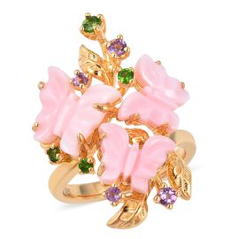 Jardin Collection - Pink Mother of Pearl, Amethyst and Russian Diopside Butterfly Ring in Yellow Gol