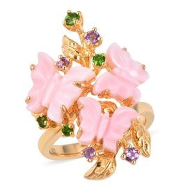 Jardin Collection Mother of Pearl and Multi Gemstone Butterfly Ring in Gold Plated Silver