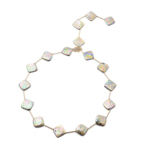 Multi Colour Shell Pearl and Simulated Diamond Adjustable Necklace (Size 18) in Yellow Gold Tone