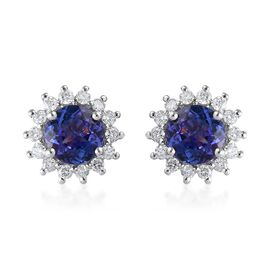 1.40 Ct AA Tanzanite and Diamond Halo Stud Earrings in 9K White Gold with Push Back