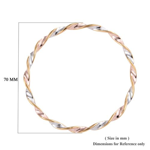 Platinum, Rose and Yellow Gold Overlay Sterling Silver Bangle (Size 7.5), Silver wt 8.30 Gms.