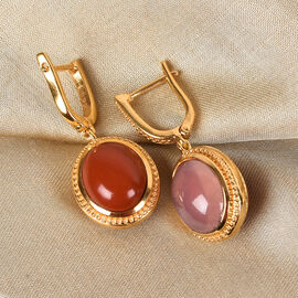 Sundays Child Rose Quartz and Orange Jasper Drop earrings (with Claps) in 14K Gold Overlay Sterling Silver 18.50 Ct.