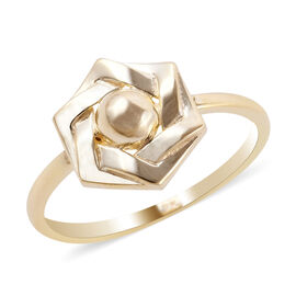 Close Out Deal 9K Yellow Gold Floral Ring
