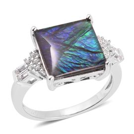 4.70 Ct AA Canadian Ammolite and White Topaz Ring in Rhodium Plated Silver