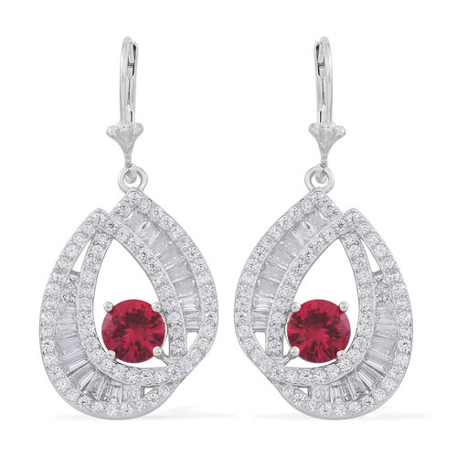 Signature Collection-ELANZA Simulated Ruby (Rnd), Simulated Diamond Lever Back Earrings in Rhodium Plated Sterling Silver. Silver WT 7.25 Gms