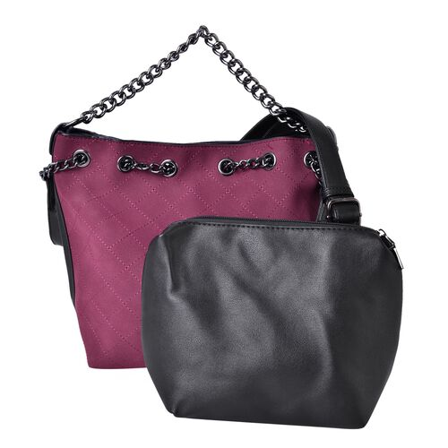 Set of 2 - Burgundy Colour Handbag with Chain Strap (Size 31X27X21X11 Cm) and Black Pouch (Size 22X1