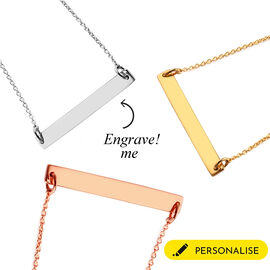 Personalise Engraved Bar  Necklace with Chain