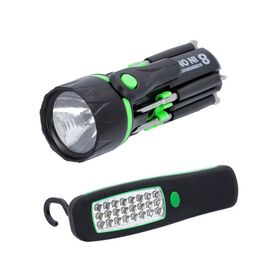2 Piece Set - LED Work Light (Size 14x4.5cm) and Tool Set (Size 20x6x3cm) - Green and Black