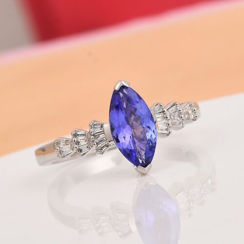 RHAPSODY 950 Platinum AAAA Tanzanite and Diamond (VS/E-F) Marquise Ring 1.15 Ct, Platinum wt. 4.92 Gms